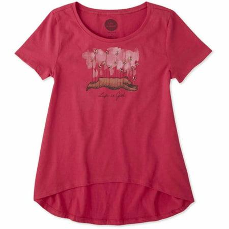 Life is Good. Girls Scoop Neck Swing Tee: Buttefly Bear Pop (Life Is Good Girls Shirt)