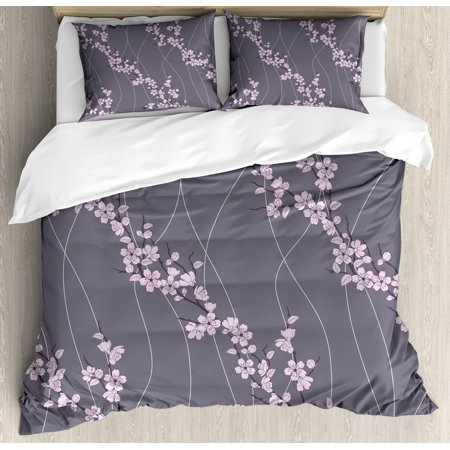 Floral Queen Size Duvet Cover Set, Asian Spring Japanese Sakura Branches Full Blossom Modern Oriental Composition, Decorative 3 Piece Bedding Set with 2 Pillow Shams, Taupe Pale Pink, by Ambesonne