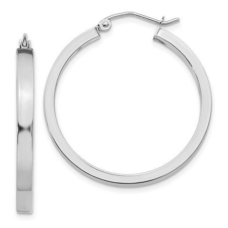 14k White Gold Tube Hoop Earrings Rectangle Round Earrings For Women (2.46 gram) ()