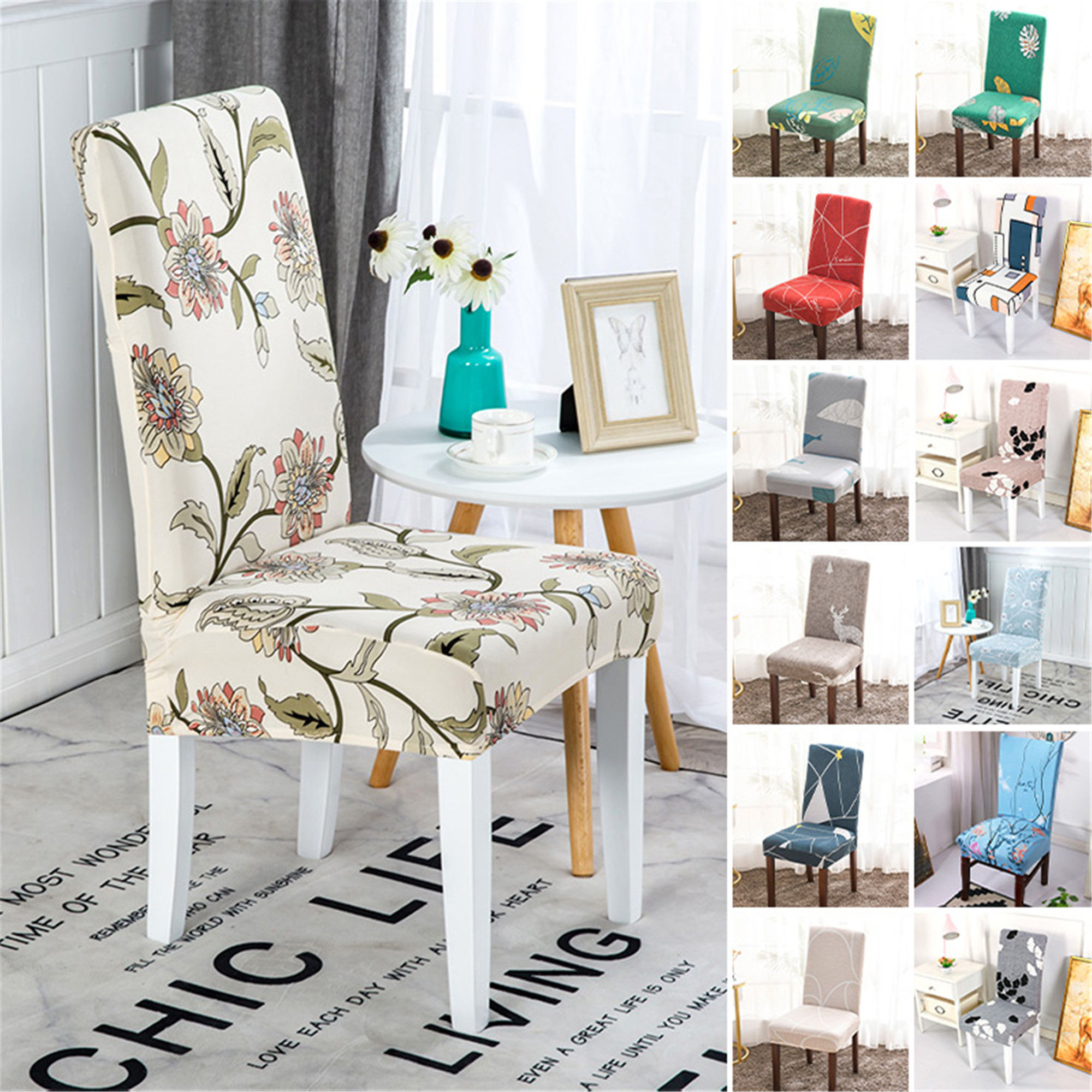 1//4//6PCS Dining Chair Seat Covers Slip Stretch Wedding Banquet Party Removable