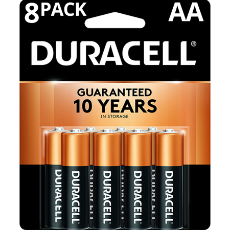 Duracell 1.5V Coppertop Alkaline AA Batteries, 8 Pack