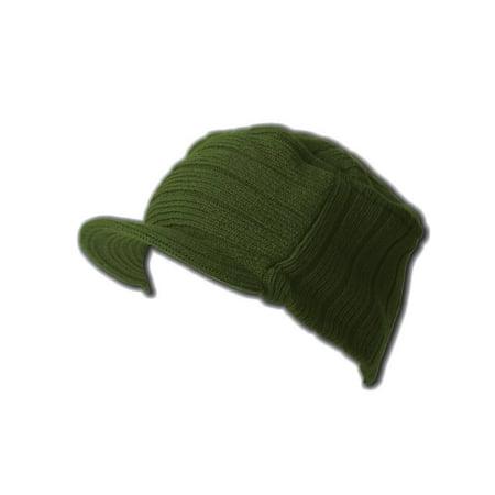 Rib Beenie Hat (Square Rib  Visor Beanie Hat - Olive)