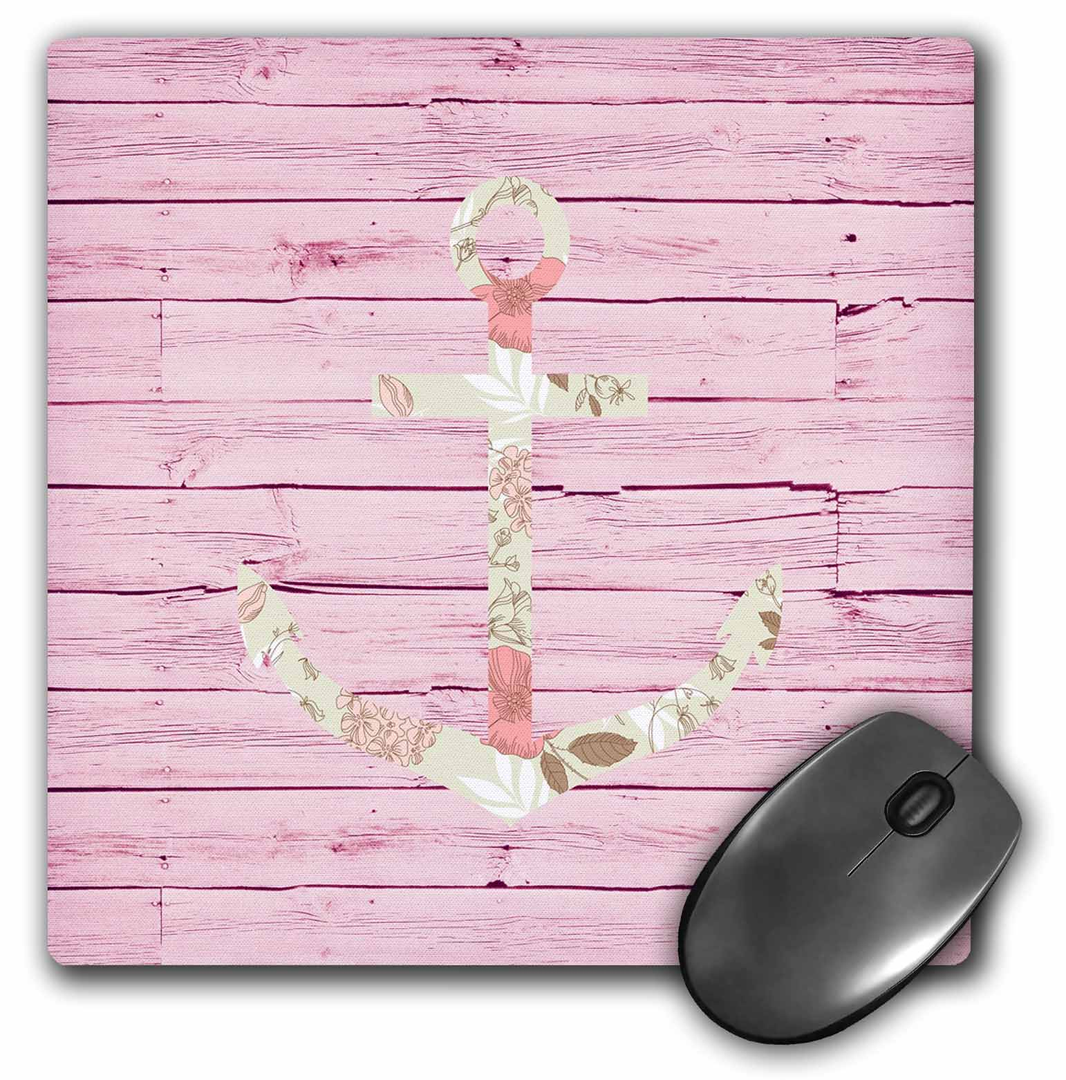 3dRose Pink Wood Floral Anchor, Mouse Pad, 8 by 8 inches