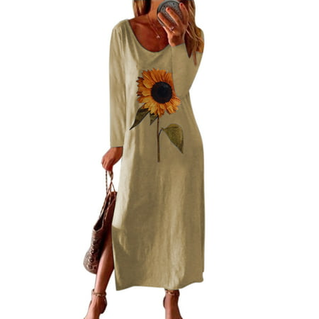 Sexy Dance Plus Size Long Sleeve T Shirt Dress For Women Print Maxi Dress Ladies Holiday Party Split A-Line Dresses Casual Loose Sunflower Print Tunic Kaftan Dress