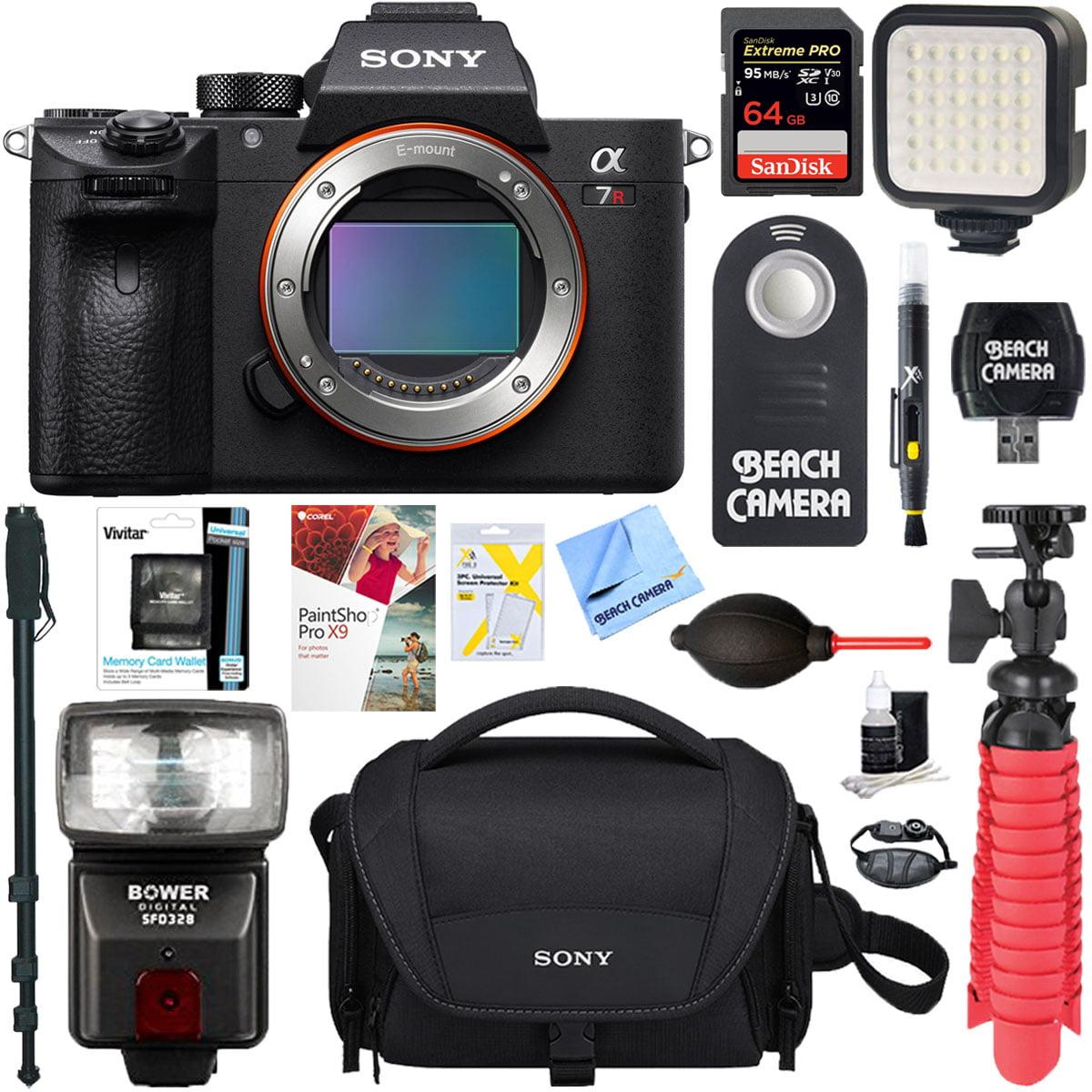 Sony a7R III 42.4MP Full-frame Mirrorless Interchangeable Lens Camera Body + 64GB Memory & Flash a7RIII Accessory Bundle