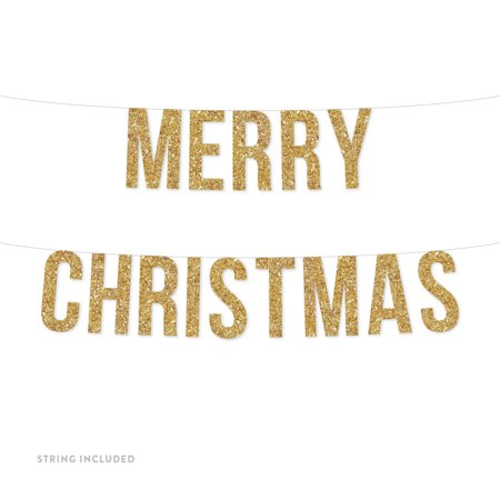 Gold Merry Christmas Real Glitter Paper Pennant Hanging Banner Includes String No Assembly Required](Merry Christmas Lights Banner)