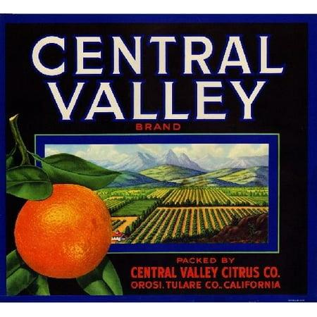 Orosi Central Valley Orange Citrus Crate Label Print for $<!---->