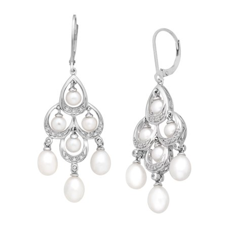 Freshwater Pearl and 1/10 ct Diamond Chandelier Earrings in Sterling (Diamond Pearl Chandelier Earrings)