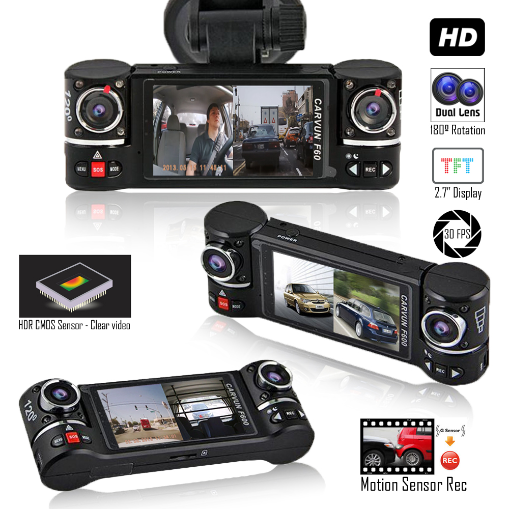 """Indigi Dash Cam Recorder - Dual Wide Angle Lens - Motion Activate"