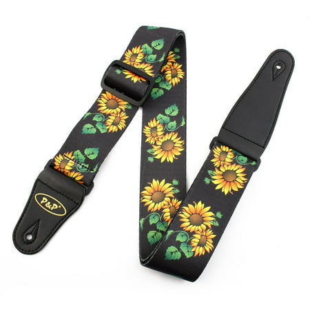 Epiphone Electric Guitar Straps - Faux Leather End Sunflower Print Adjustable Acoustic Electric Guitar Shoulder Strap Belt Multicolor