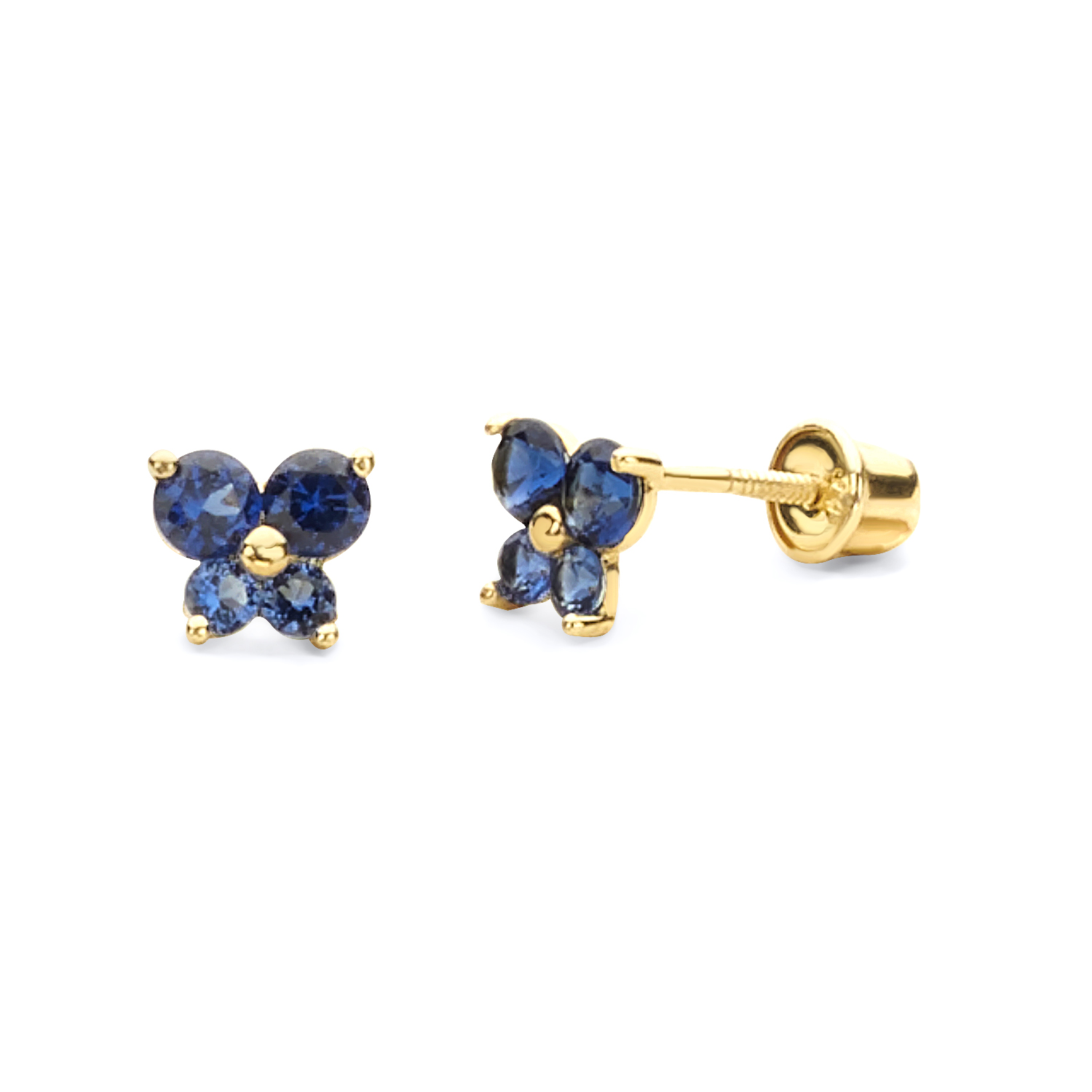 Wellingsale 14K Yellow Gold Polished Flower Birth CZ Cubic Zirconia Stone Stud Earrings With Screw Back May