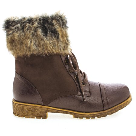 Warrior08 by Bamboo, Faux Fur Ankle Cuff Lace Up Combat Woman's - Faux Fur Cuff Boot