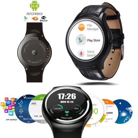 Indigi  Allweather Android 4 4 Smart Watch Phone  3G Wifi  Google Play Store Google Map Weather Heart Rate Monitor