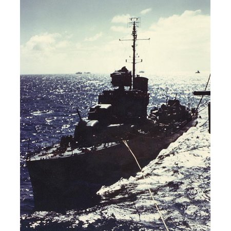 Uss Wasp Aircraft Carrier (LAMINATED POSTER The U.S. Navy destroyer USS Wilson (DD-408) refueling at sea from the aircraft carrier USS Wasp (CV- Poster Print 24 x 36 )