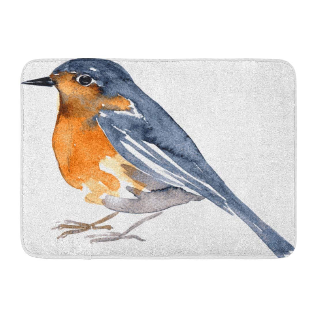 GODPOK Bluebird Orange Cardinal Watercolor Drawing Bird Robin at White Red Sparrow Sing Rug Doormat Bath Mat 23.6x15.7 inch