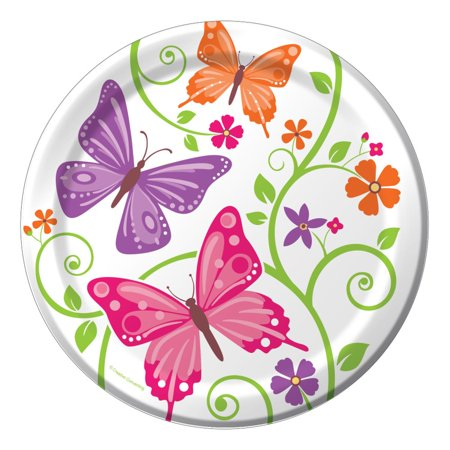 Club Pack of 96 Butterfly and Flower Aflutter Luncheon Party Plates 9