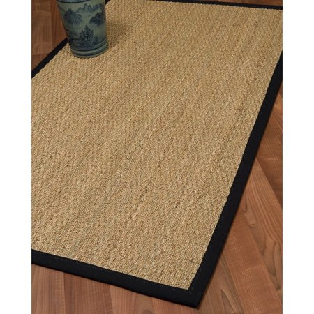 Natural Area Rugs, Hand-Crafted Mayfair Natural Seagrass Rug 2' x 3' Black Wide Canvas Border ()