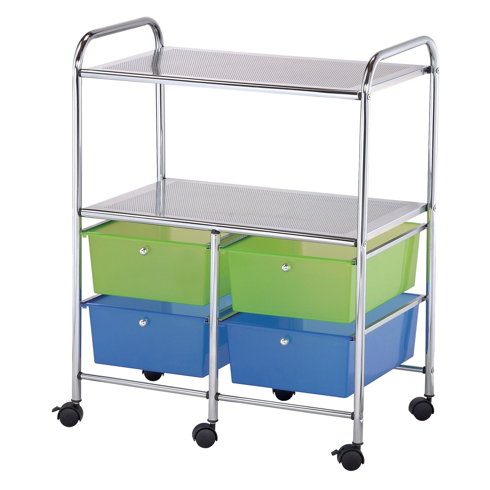 Blue Hills Studio 4-Drawer/Shelf Multi Colored Cart