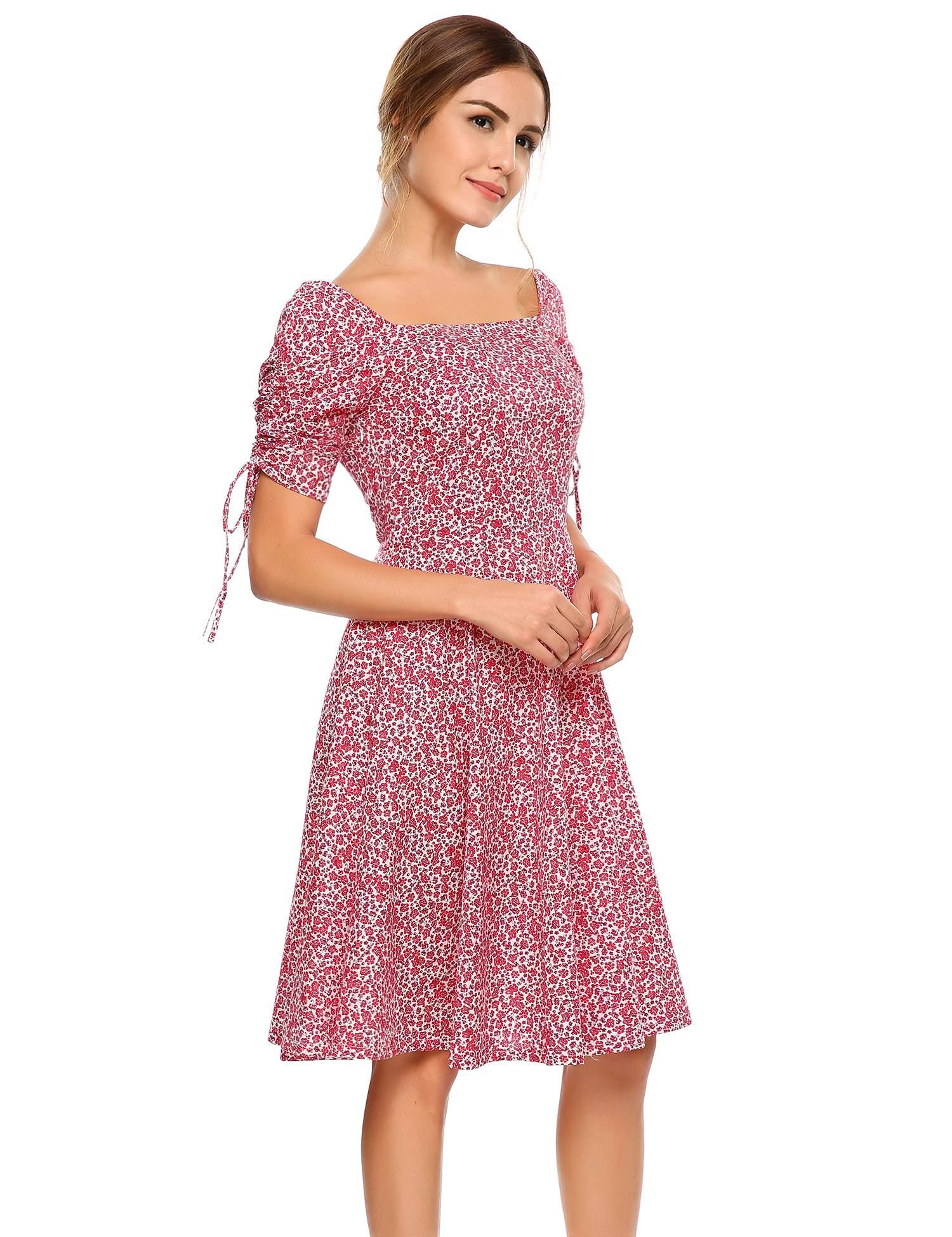 a0bb2fc289ee Women Vintage 3/4 Sleeve Floral Print Square Neck Party Swing Tunic Dress  HFON - Walmart.com