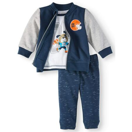 Wonder Nation Baby Boys' Bomber Jacket, T-shirt, & Jogger Pants, 3pc Outfit  Set