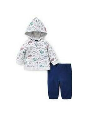 Little Me- Dino Hood Cardigan Set, Blue