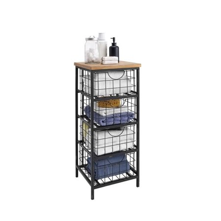 Linon Metal and Wood Drawer Unit, 33 inches Tall, Assembled Tall Storage Drawer