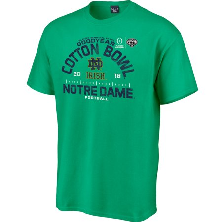 Notre Dame Fighting Irish Blue 84 College Football Playoff 2018 Cotton Bowl Bound Hayneedle T-Shirt - Kelly Green Your Notre Dame Fighting Irish have had an incredible season, and it will only get better as they head to the College Football Playoff 2018 Cotton Bowl! Cheer your team to a victory as you wear this Blue 84 Hayneedle T-Shirt. Crisp graphics will put your Notre Dame Fighting Irish fandom front and center, ensuring you're the #1 fan everywhere you go.