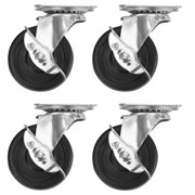 4 Pack 3 Inch Caster Heavy Duty Rubber Caster Wheels with Brake Swivel Top Plate