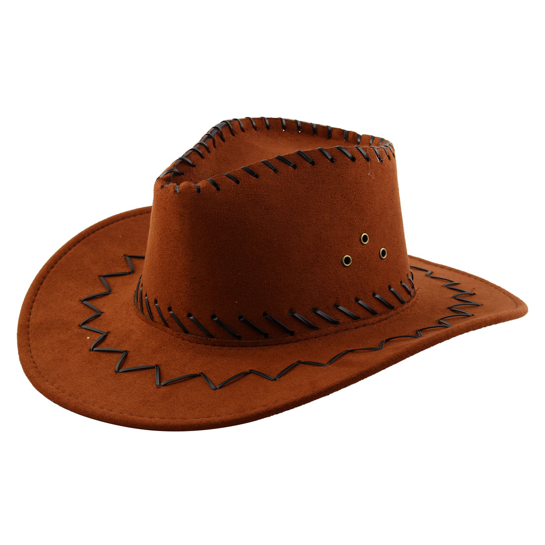 1e175416bc7 Adult Adjustable Neck Strap Wide Brim Western Style Sunhat Cowboy Hat Brown