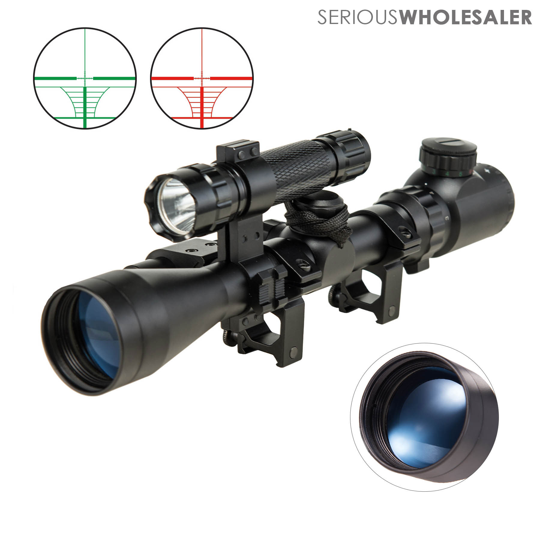 3-9X40EG Rangefinder Mil Dot Reticle Riflescope Laser Sight and Torch