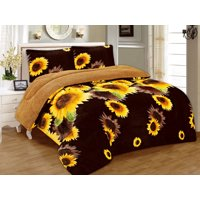 Linen Plus 3 Piece Sunflower Brown Yellow Flannel Sherpa Blanket (Multiple Sizes)