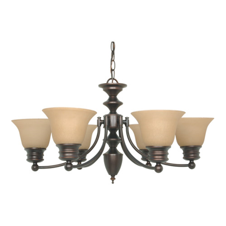 Mahogany Bronze Metal (Chandeliers 6 Light With Mahogany Bronze Finish Metal Medium Base 26 inch 360 Watts )