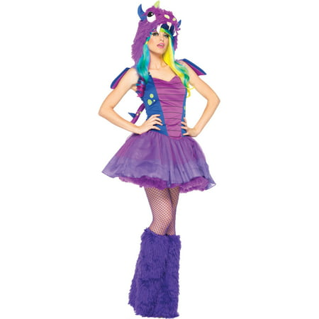 Women's 3PC.Darling Dragon Petticoat Dress w/ Tail, Wings, (Women's Dragon Costume)