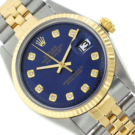 Two Tone Rolex Men Datejust Blue Dial Genuine Diamond Watch - 36mm (Certified Pre-owned)