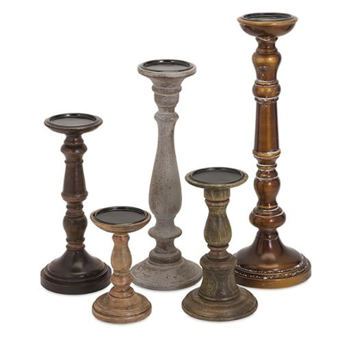 Set of 5 Contemporary Rizzi Staggering Mango Wood and Iron Pillar Candle Holder Sticks 18""