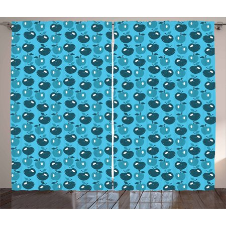 Apple Curtains 2 Panels Set, Cartoon Style Fruit Pattern in Blue Shades Healthful Diet Eat Clean Print, Window Drapes for Living Room Bedroom, 108W X 96L Inches, Blue Dark Blue