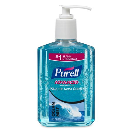 Care Instant Antibacterial Hand Gel (PURELL Ocean Mist Instant Hand Sanitizer Gel, 8 Oz Pump Bottle, Blue)