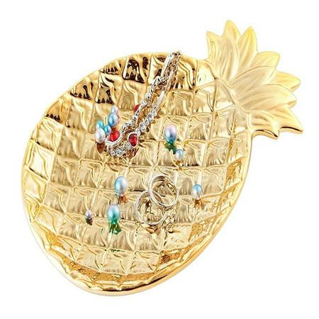 Trinket Dish - Ceramic Plate Jewelry Tray Jewelry Holder Jewelry Display - Ring Dish - Organizer for Keys - Phone - Jewelry - Watch - Wallet -Trinket - Best Wedding/Birthday - Golden