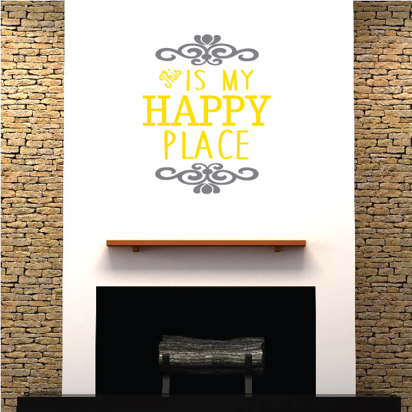 This Is My Happy Place Motivational Quote Color Wall Decal - Vinyl Decal - Car Decal - Vd009 - 36 Inches