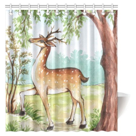 MYPOP Watercolor Painting Decor Shower Curtain, Whitetail Antlers in Tropical Trees Forest Fabric Bathroom Shower Curtain Set with Hooks, 66 X 72 Inches Whitetail Shower Curtain Hooks