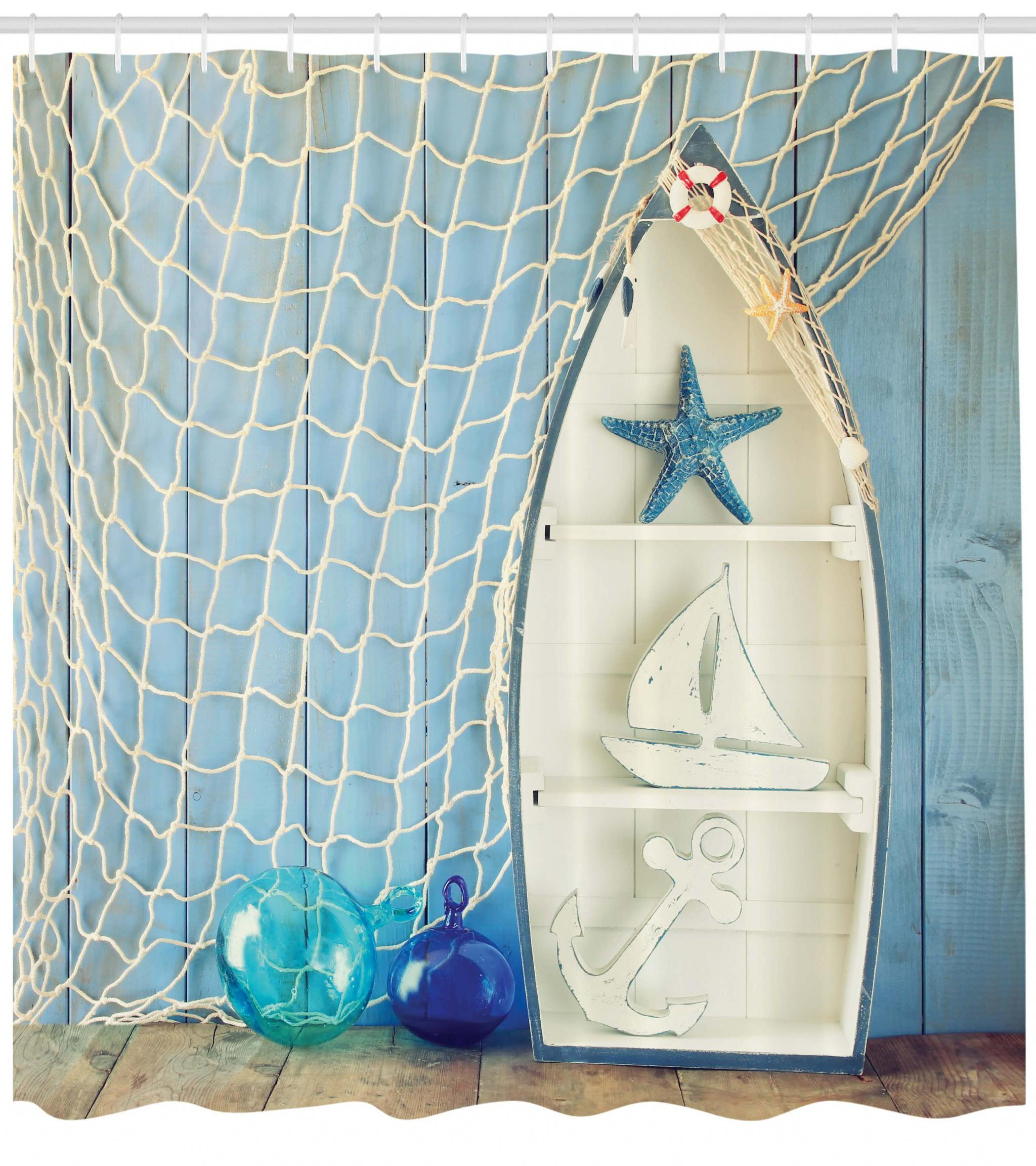 Nautical Shower Curtain Sea Objects On Wooden Backdrop With