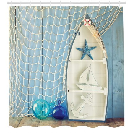 Nautical Shower Curtain, Sea Objects on Wooden Backdrop with Vintage Boat Starfish Shell Fishing Net Photo, Fabric Bathroom Set with Hooks, Blue White, by Ambesonne