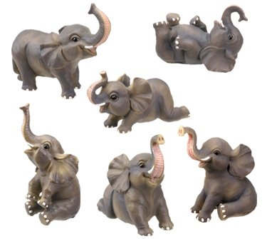 Small Elephant Collectible Figurine, Set of 6 by StealStreet (Home)