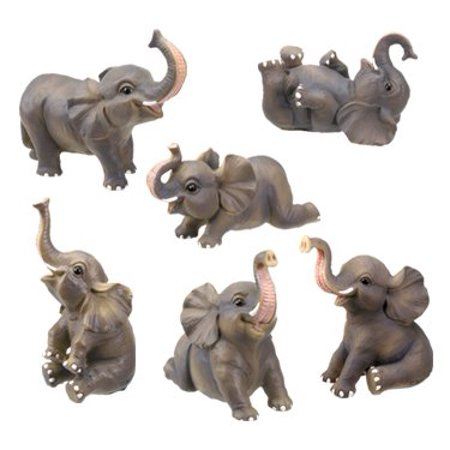 Small Elephant Figurine - Small Elephant Collectible Figurine, Set of 6