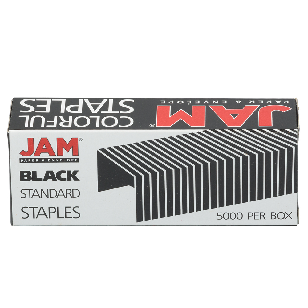 JAM Paper Standard Size Colorful Staples, Black, Box of 5000
