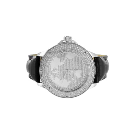 World Map Dial Mens Watch 14k White Gold Tone 2 Free Leather Straps Ice Mania