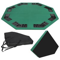 "Zeny 48"" Green Octagon 8 Player Four Fold Folding Poker Table Top & Carrying Case"