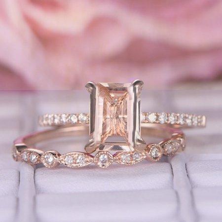 Perfect Bridal Set 1.50 carat emerald Cut Morganite and Diamond Bridal Set in Rose Gold: Bestselling Design Under Dollar 500