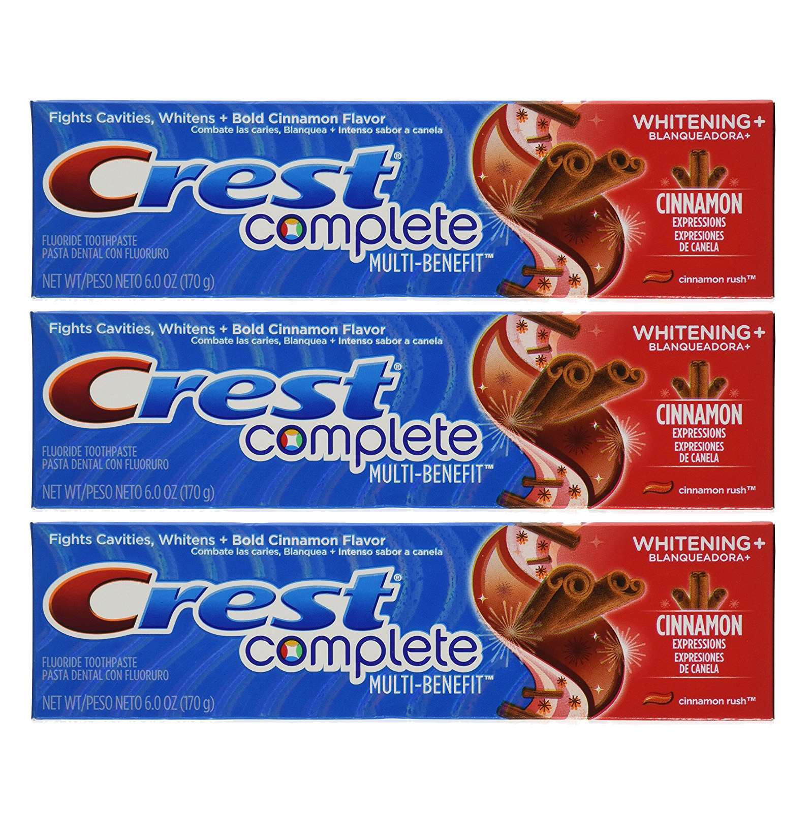 Crest Complete Multi-Benefit Whitening Cinnamon Rush Toothpaste 6 oz, 3 Pack
