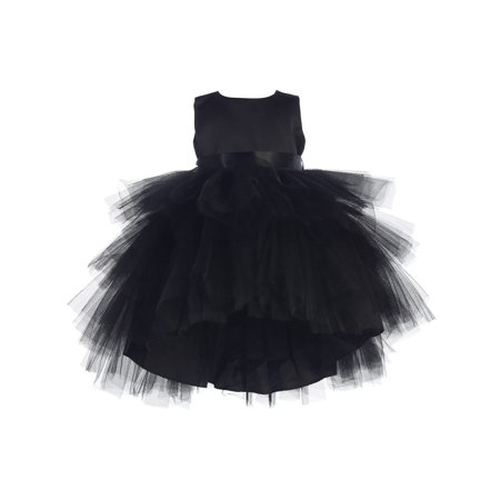 - Baby Girls Black Hi-Low Multi Level Ruffle Tutu Flower Girl Dress